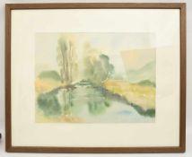 """WILHELM LUIB:""""Flusslauf"""", hinter Glas gerahmt, signiert und datiert Wilhelm Luib (1916-1986), rechts"""