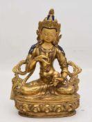 VAJRASATTVA, Kupferbronze, Nepal, 19. Jhd gekrönte schwere Bronze mit nachträglichen Bemalungen /