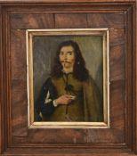 POSTRAIT WALLENSTEIN, Öl auf Kupfer, 17. JH. 14 x 16/ 9 x 7,5 cm. Rückseitiger Stich mit einem