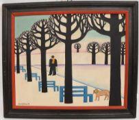 """MARIA KLOSS, """"Winterspaziergänger mit Hund"""", Öl auf Karton, 1971, gerahmt. Unten links signiert"""