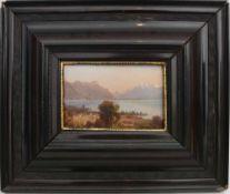 """UNBEKANNTER KÜNSTLER, """"Alpines Seeufer"""", Öl auf Holz, gerahmt. 39 x 32 cm."""