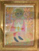 """UNBEKANNTER KÜNSTLER, """"Abstrakte Figur"""", Öl auf Leinwand, hinter Glas gerahmt, signiert und datiert."""
