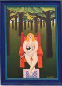 """MARIA KLOSS, """"Frau mit Katze im Wald"""", Öl auf Karton, 1971, gerahmt.. Unten rechts signiert und"""