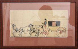 """UNBEKANNTER KÜNSTLER, """"Kutsche"""", Kolorierte Zeichnung, ende 19. JH. 53 x 33,5 cm."""
