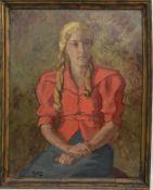 FRITZ KETZ, Portrait einer jungen Frau (Gretchen), Öl auf Leinwand, signiert, datiert und gerahmt.