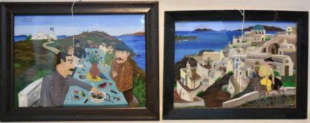 "KONV. ANTONIOS SANATORINOS (4sk.), hinterglasmalerei, gerahmt und signiert. ANTONIOS SANATORINOS, """