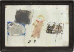 """HEIDI FOERSTER, """"Mädchen mit Hasen"""", Mischtechnik hinter Glas, gerahmt, signiert und datiert. 46 x"""