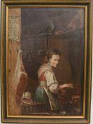 """FRAU AM HERD, Öl auf Leinwand, Ende 18. Jh, Gerahmt. Hinten datiert """"A:1778"""". 64 x 47 cm."""