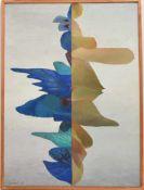 """FELIX LEWIN, """"Abstrakte Komposition in grau und blau"""" Öl auf Leinwand, 1965, gerahmt. Unten links"""