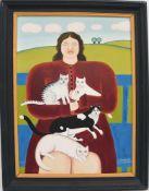 """MARIA KLOSS, """"Frau mit Katzen"""", Öl auf Karton, 1971, gerahmt. Unten rechts signiert und datiert."""