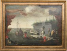 """UNBEKANNTER KÜNSTLER, """" Hafenszene"""", Öl auf Leinwand, 1 hälfte 17. Jahrhundert. Gerahmt, Guter"""