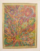 UNBEKANNTER KÜNSTLER, Abstrakte Blumenwiese, Öl auf Platte. Sehr guter Zustand. 81 x 66 cm, unten