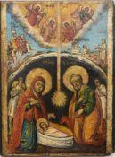 """SÜDSLAWISCHE IKONE, """" Christi Geburt"""", 36 x 27 cm. Leichte Altersspuren."""