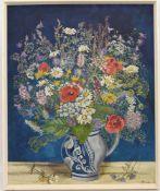 """UNBEKANNTER KÜNSTLER, """"Frühlingsblumen in Vase"""", Öl auf Pappe, gerahmt, monogrammiert und datiert,"""