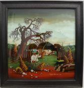 """VUJCIC KAMILO, """"Bauernszene"""", Hinterglasmalerei, 1972, signiert und gerahmt. 54 x 52 cm."""