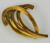 BROSCHE moderner Entwurf aus vier gebogten Bändern, Gelbgold 14ct, 6,9g, D 40mm