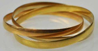 DREI ARMREIFEN tricolor, ineinander verschlungene, polierte Reifen in Rot- Weiß- Gelbgold 18ct,