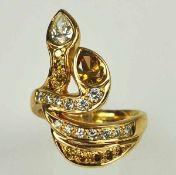 REPRÄSENTATIVER RING moderne Schlangenform besetzt mit 13 weissen und 9 gelben Diamanten, die