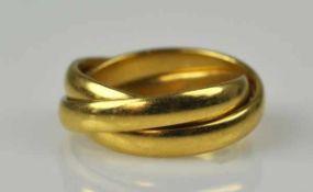 FREUNDSCHAFTSRING aus 3 ineinander verschlungenen polierten Ringen, Gelbgold, 18ct,