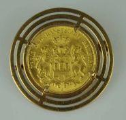 MÜNZBROSCHE Goldmünze 20 Reichsmark 1906, Hansestadt Hamburg in runder durchbrochener Goldfassung,