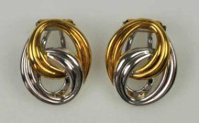 """PAAR OHRCLIPS oval, aus polierten Gelb- und Weißgoldbändern, Gold 18ct, Marke """"CB"""", Carl Bucherer"""