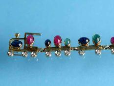 Armband mit Saphir,- Rubin,- Smaragd- Cabochons und kleinen Diamanten, zusammen ca. 0,26 ct,