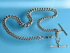 Lange Uhrenkette, England, um 1900 925/- Silber. Gesamtgewicht ca. 88,2 g. Massive