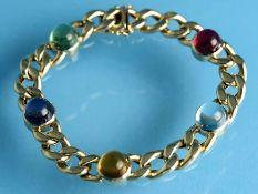 Armband mit 5 Farbstein-Cabochons, 20. Jh. 585/- Gelbgold. Gesamtgewicht ca. 29,1 g. Hohl