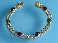 Armband mit Smaragd-, Rubin- und Saphir-Cabochons, Goldschmiedearbeit, 70- er Jahre 585/-
