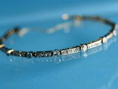 Armband mit Diamanten, zusammen ca. 2 ct, Art Deco um 1910 750/- Gelb- und Weißgold (ungestempelt/