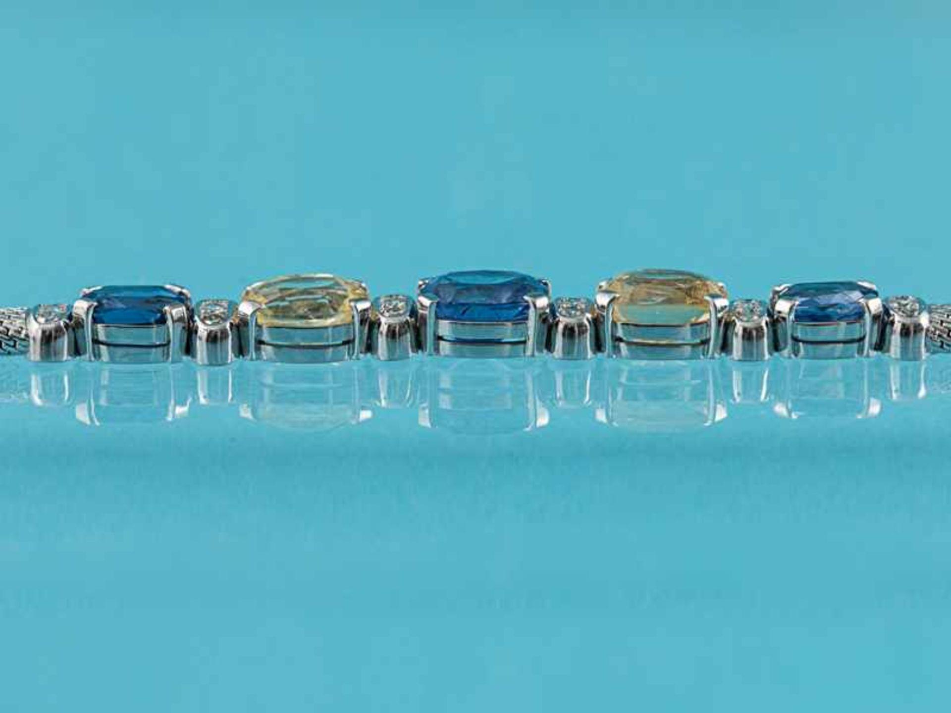 Armband mit gelben und blauen Saphiren, zusammen ca. 13,1 ct und 18 Brillanten, zusammen ca. 0,3 ct, - Bild 5 aus 5