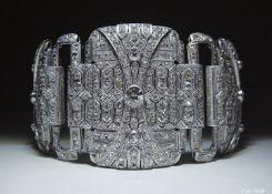 Prunkvolles Armband aus Platin mit ca. 58 ct Altschliff-Diamanten, Art Deco Platin. Gesamtgewicht