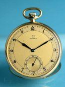 Taschenuhr, bezeichnet Omega, Anfang 20. Jh. 585/- Gelbgold. Gesamtgewicht ca. 54,2 g.