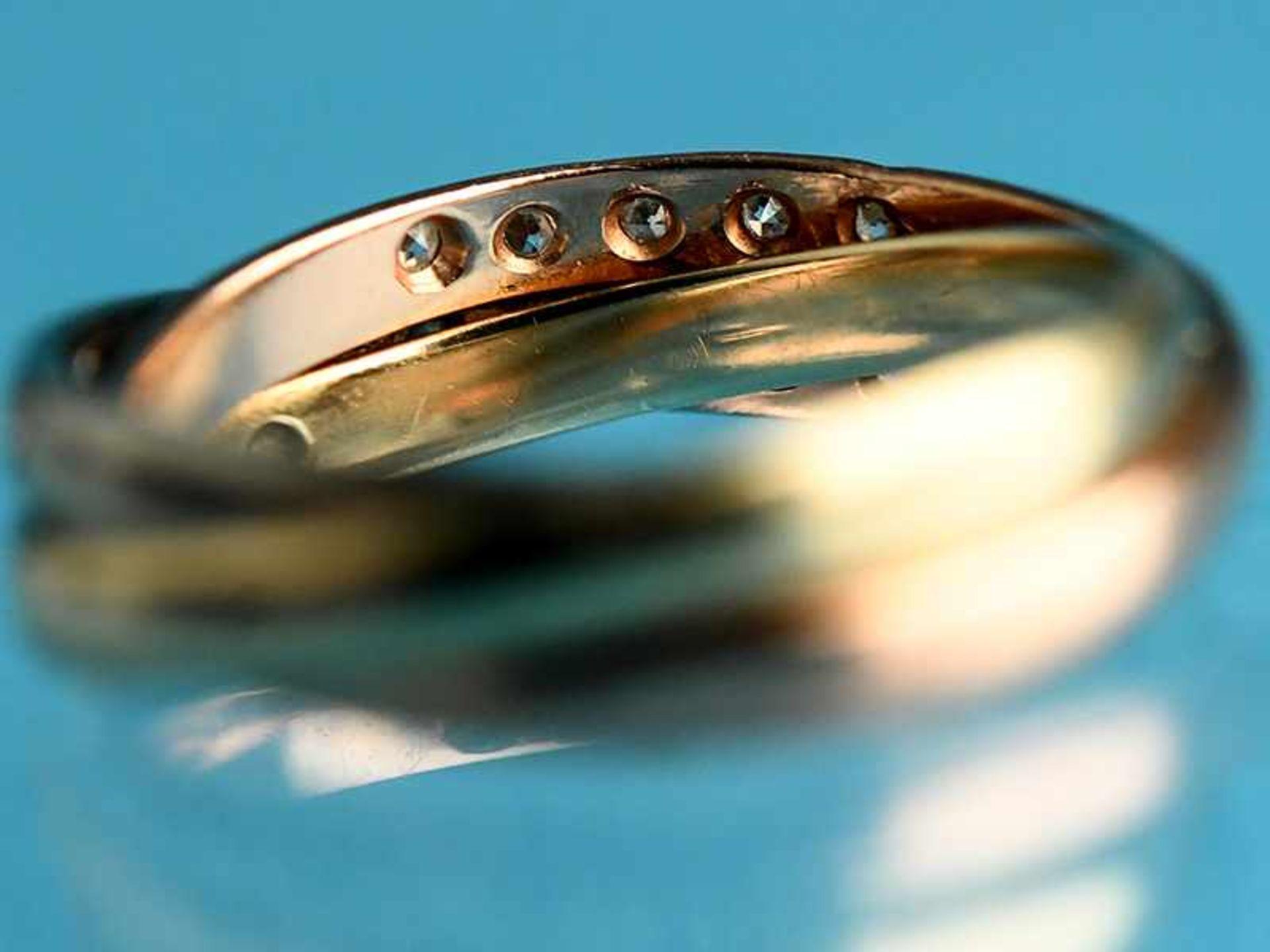 Ring mit 21 Achtkant-Diamanten, zusammen ca. 0,18 ct, 20. Jh. 585/- Gelb,- Weiß- und Rotgold. - Bild 3 aus 3