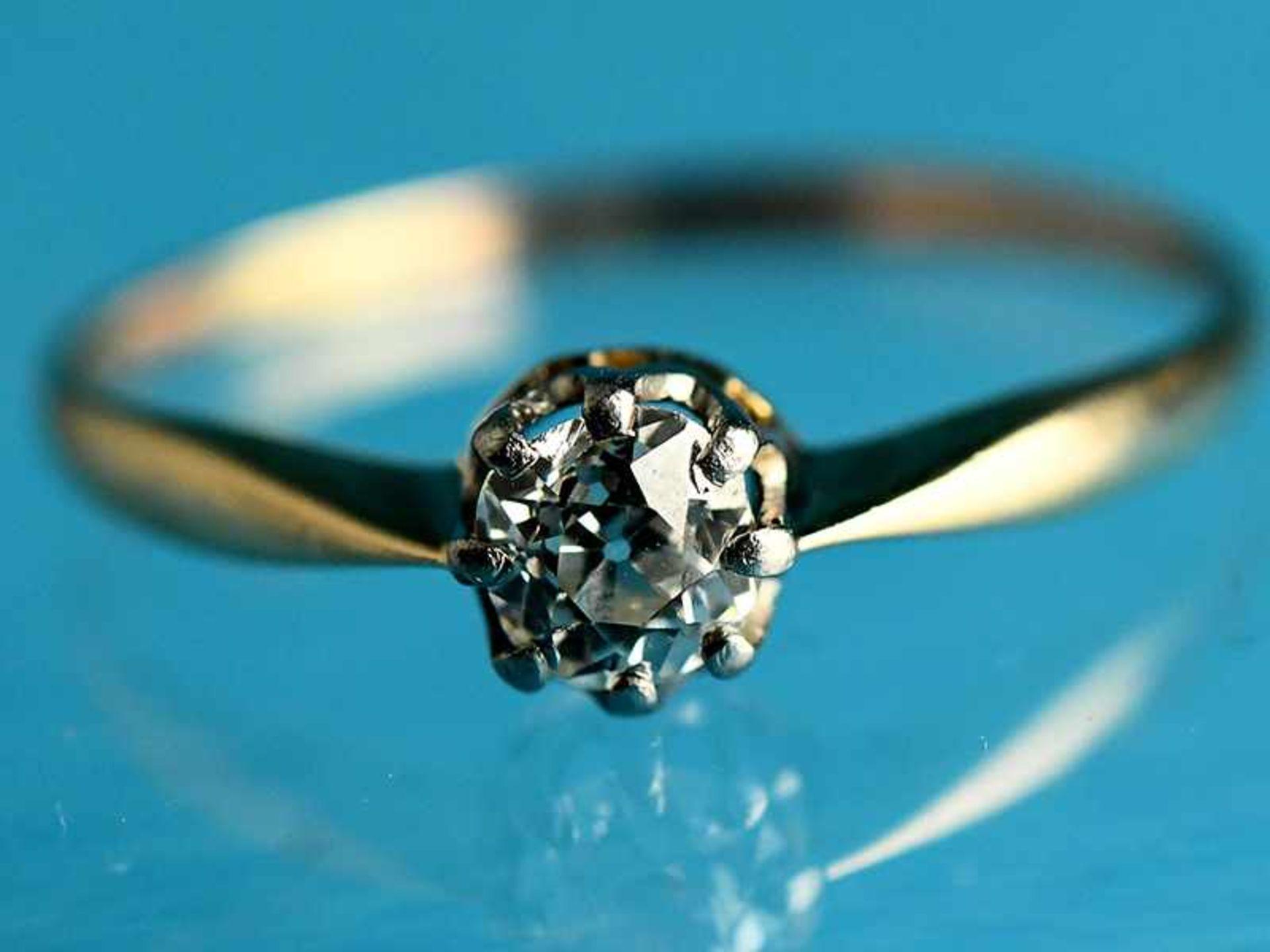 Ring mit Altschliff-Diamant ca. 0,4 ct, Anfang 20. Jh. 585/- Gelb- und Weißgold. Gesamtgewicht ca.