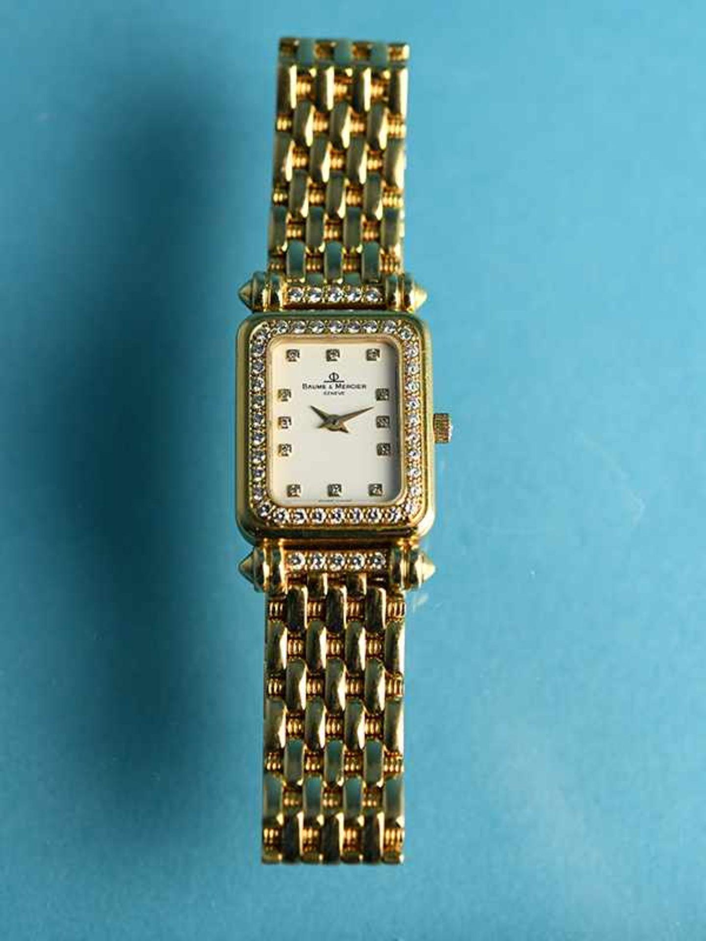 Damenarmbanduhr mit Brillanten, zusammen ca. 0,5 ct, bezeichnet Baume & Mercier, Geneve, 20. Jh. - Bild 2 aus 7