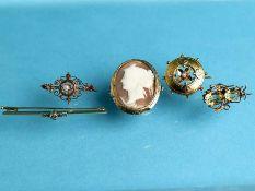 5 verschiedene Nadeln bzw. Broschen mit Diamanten, Perlen und Farbsteinen, um 1900 1.) Brosche: