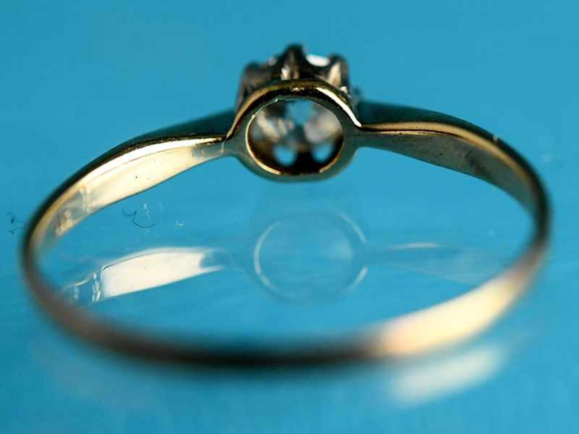 Ring mit Altschliff-Diamant ca. 0,4 ct, Anfang 20. Jh. 585/- Gelb- und Weißgold. Gesamtgewicht ca. - Bild 3 aus 4