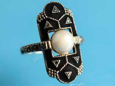 Ring mit Perle, Markasiten und schwarzem Emaille, Theodor Fahrner, Art Deco 935/- Silber mit Reste