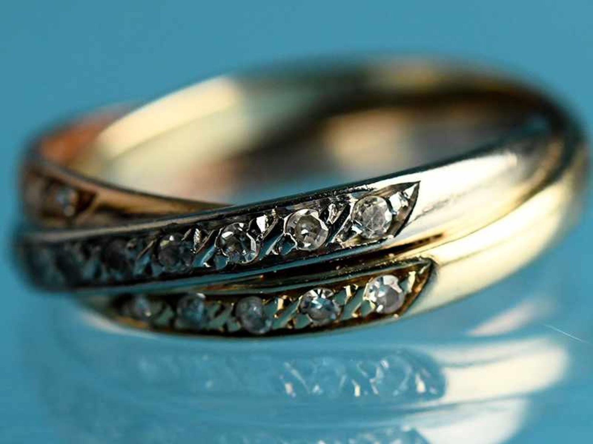 Ring mit 21 Achtkant-Diamanten, zusammen ca. 0,18 ct, 20. Jh. 585/- Gelb,- Weiß- und Rotgold. - Bild 2 aus 3