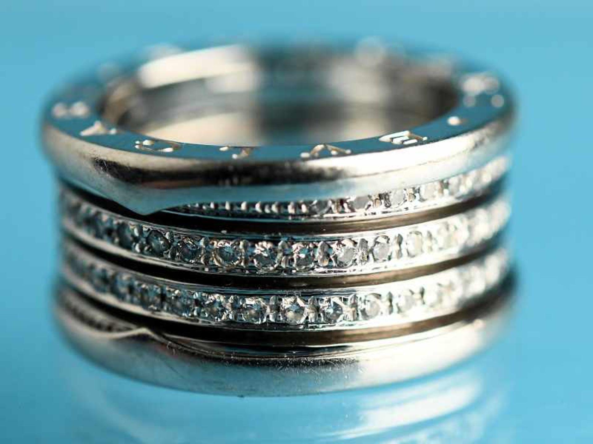 """Ring mit Brillanten, zusammen ca. 1 ct, BVLGARI, Modell """"B Zero1"""", 20. Jh. 750/- Weißgold."""
