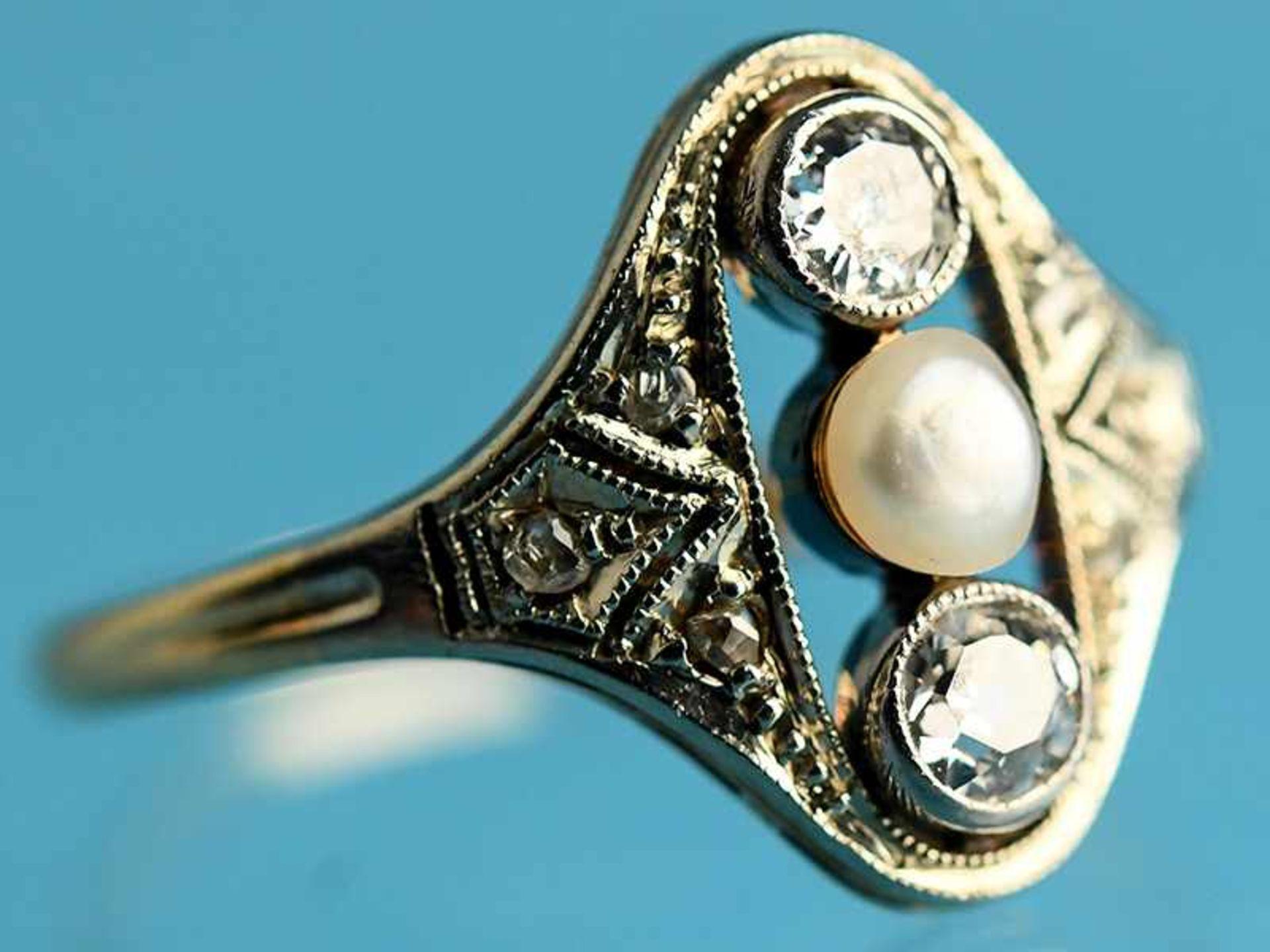 Ring mit Orientperle und 2 Altschliff-Diamanten, zusammen ca. 0,2 ct, Art Déco 585/- Gelbgold und - Bild 2 aus 5