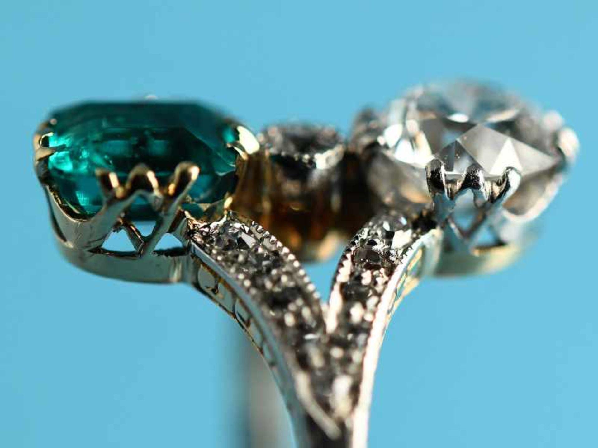 Hochwertiger Art Deco Ring mit Smaragd ca. 0,6 ct, Altschliff-Diamant ca. 0,65 ct und 19 kleinen - Bild 5 aus 9