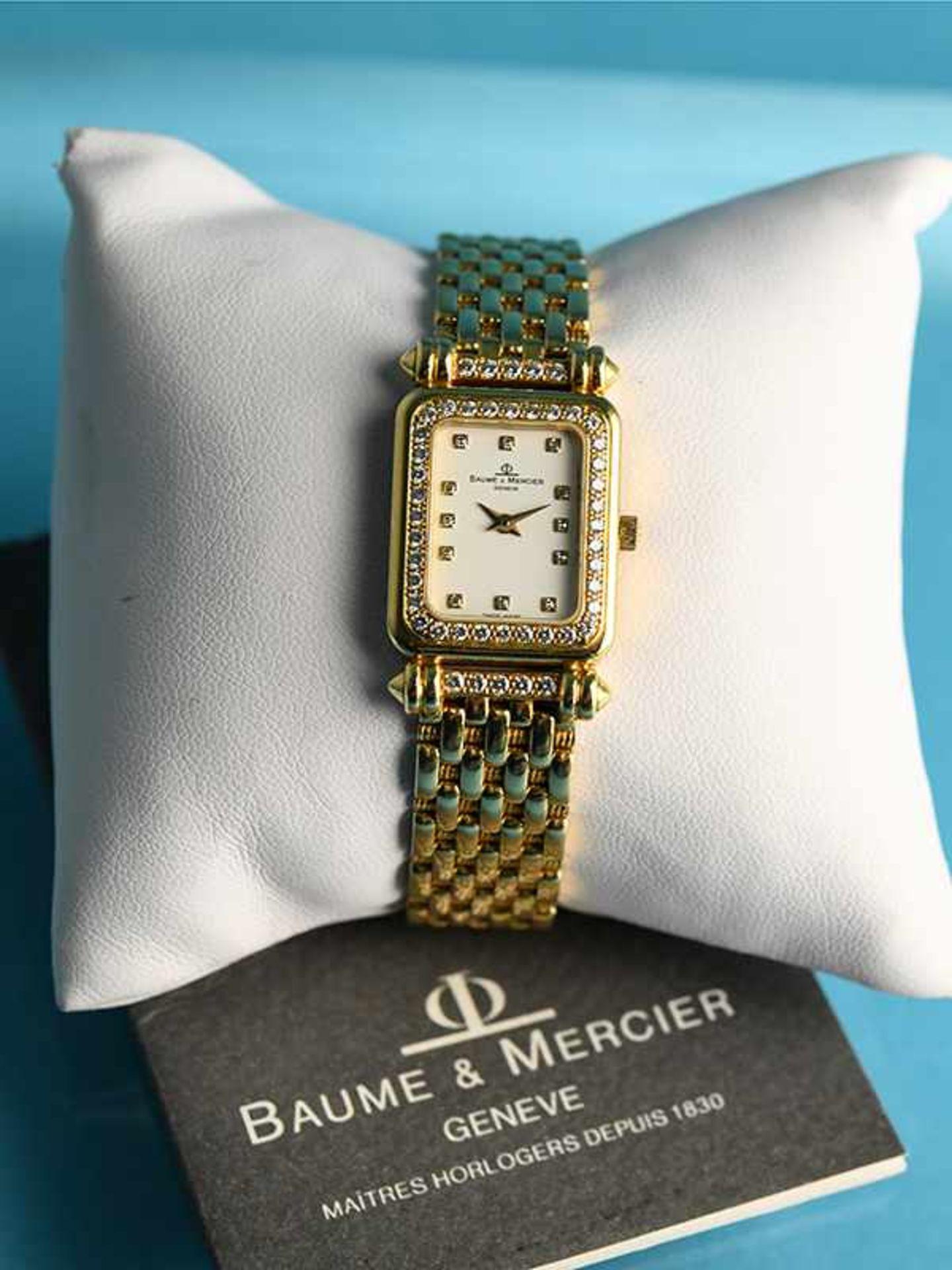 Damenarmbanduhr mit Brillanten, zusammen ca. 0,5 ct, bezeichnet Baume & Mercier, Geneve, 20. Jh.