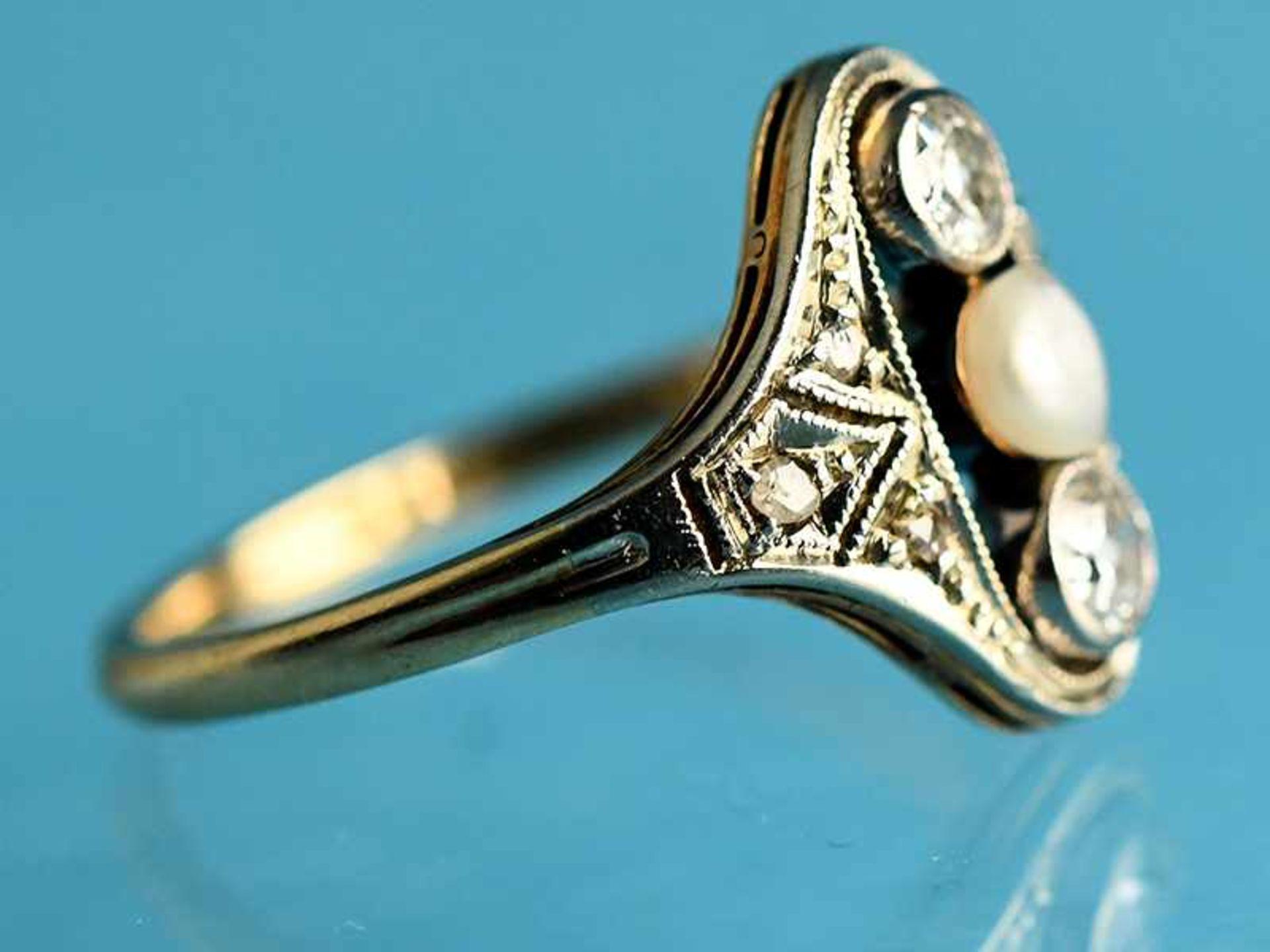 Ring mit Orientperle und 2 Altschliff-Diamanten, zusammen ca. 0,2 ct, Art Déco 585/- Gelbgold und - Bild 5 aus 5