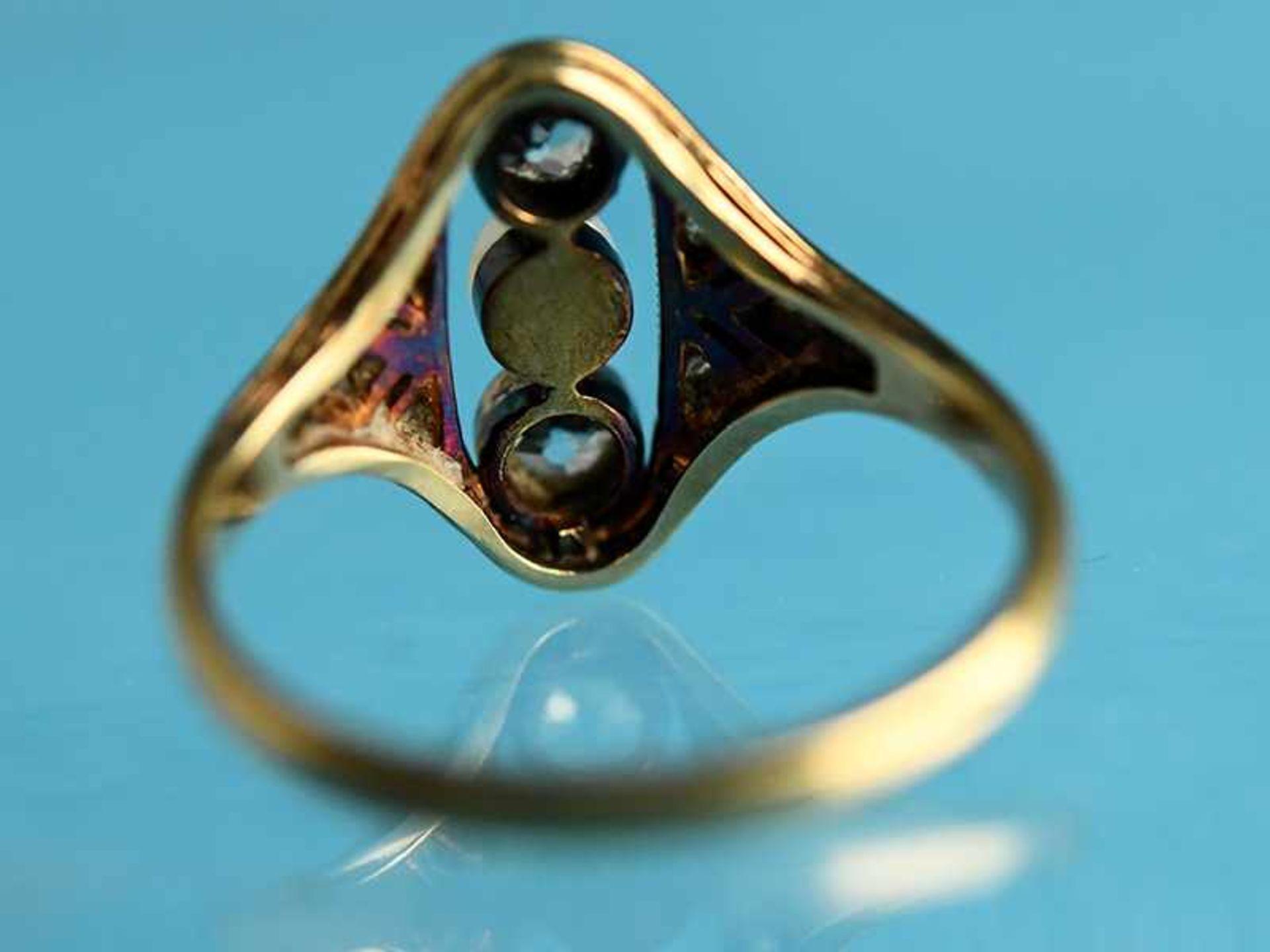 Ring mit Orientperle und 2 Altschliff-Diamanten, zusammen ca. 0,2 ct, Art Déco 585/- Gelbgold und - Bild 3 aus 5