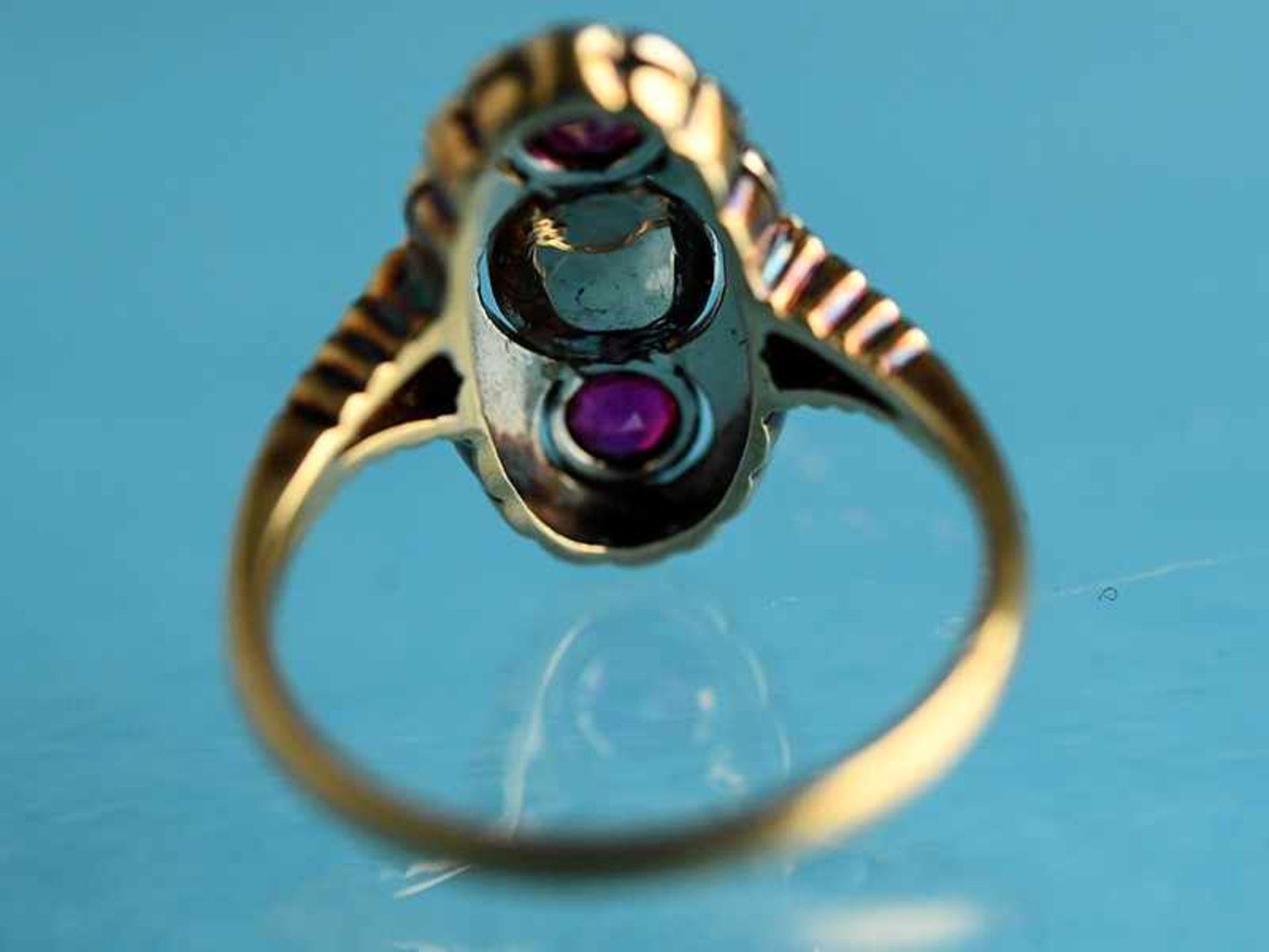 Ring mit Orientperle und zwei Rubinen, Art Deco 585/- Gelbgold und Silber parkettiert. Ovale - Bild 4 aus 6