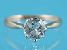 Solitärring mit einem Altschliff-Diamanten ca. 0,95 ct, um 1900 585/- Roségold. Gesamtgewicht ca.