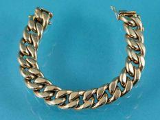 Flachpanzerarmband, 60-er Jahre 585/- Gelbgold. Gesamtgewicht ca. 35,4 g (hohl). Breites