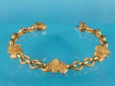 """Massives Armband, bezeichnet """"Prima Gold"""", 21. Jh. 999/- Gelbgold. Gesamtgewicht ca. 39,9 g. Drei"""
